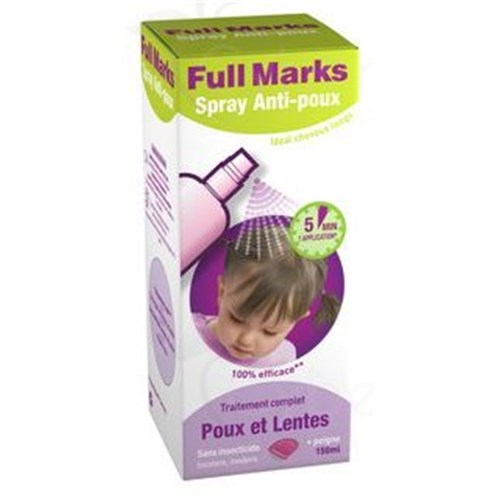FULL MARKS Anti-lice Spray + comb, 150ml bottle