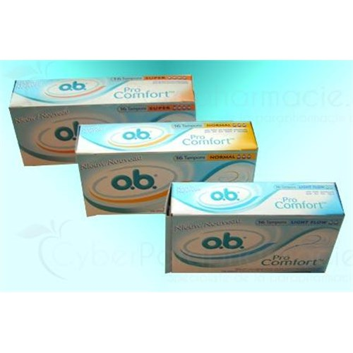 OB PRO COMFORT, Tampon périodique à bout arrondi, sans applicateur. light Flow (ref. K803204) - bt 16