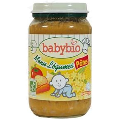 BABYBIO SMALL POTS VEGETABLES, Potty vegetable menu - pasta. - 200 g pot