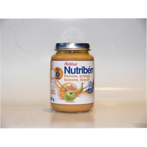 Nutriben POTITOS FRUITS, Potty apple - orange - banana - biscuit. - 200 g pot