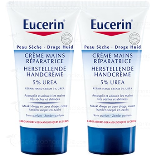 EUCERIN CREME MAINS REPARATRICE PEAUX SECHES ET ABIMEES 2X100 ML