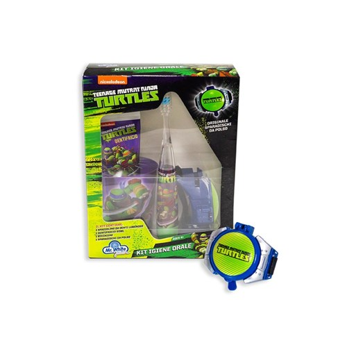 MR. WHITE KIT TEENAGE MUTANT NINJA TURTLES Brush with bright tooth + toothpaste + glass + wrist disc player