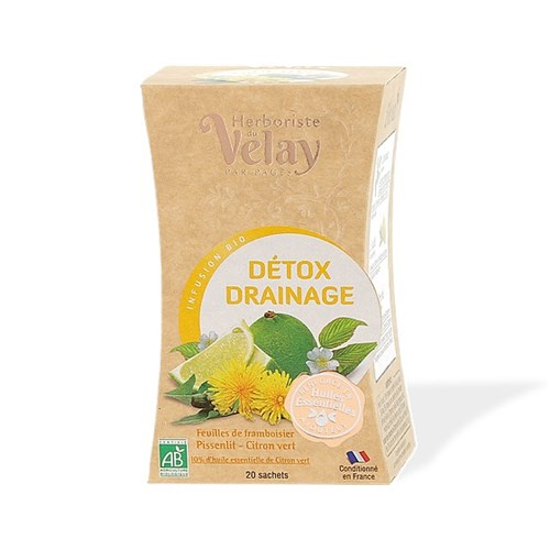 Infusion Detox Drainage Organic infusion Raspberry leaves Dandelion Lime Box of 20 Sachets - 36g