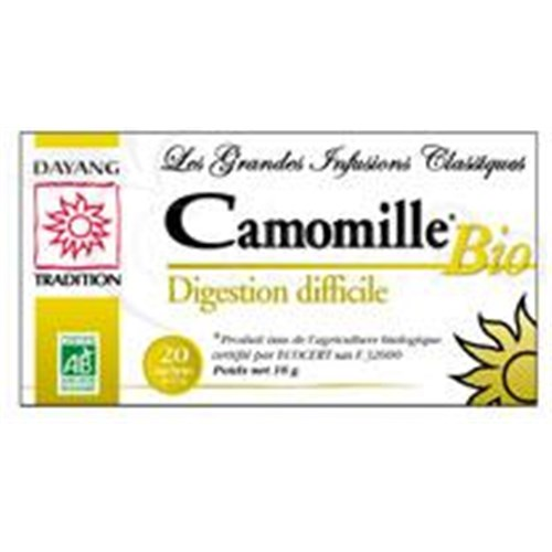 DAYANG INFUSION CLASSIQUE BIO CAMOMILLE, Camomille matricaire, infusette. - bt 20
